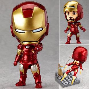 "Cute Nendoroid 4"" Movie Iron Man Mark7 Tony Stark Set PVC Action Figure Collection Model Toy #284 IR1200"