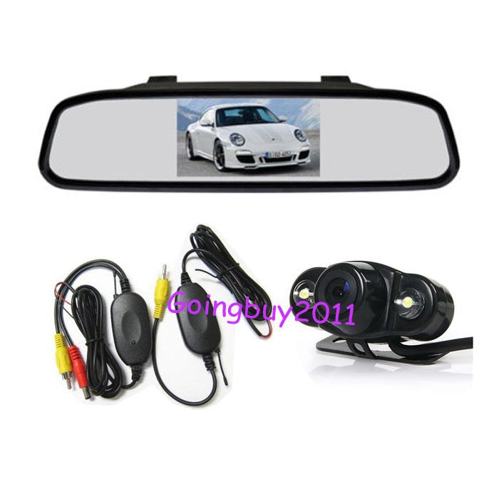 "Wireless 2 LED Reversing Camera Car Rear View Kit 170 degree Waterproof + 4.3"" LCD Mirror Monitor Free Shipping(China (Mainland))"