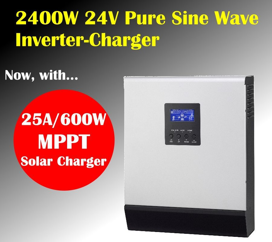 PIP 2424MS 2400w 24v to 220V off grid mppt solar inverter charger pure sine wave inverter charger mppt solar charger 25A(Taiwan)