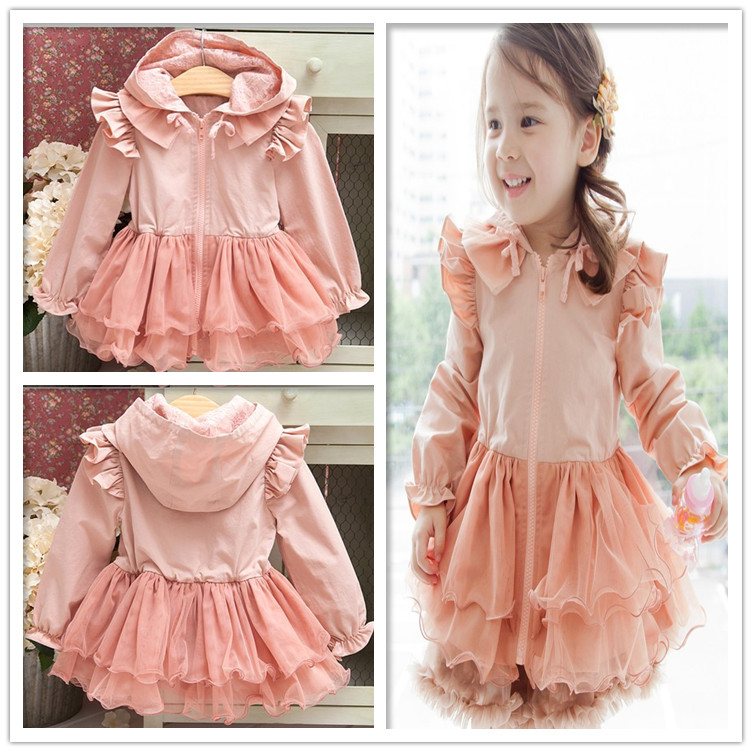Autumn fashion childrens laciness with a hood trench patchwork gauze outerwear baby girls long sleeve pink lace dresses coat<br><br>Aliexpress