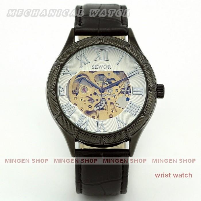 Free shipping Luxury Titanium Black Automatic Mechanical Men Business Skeleton PU leather Sport Wrist Watch U0312<br><br>Aliexpress