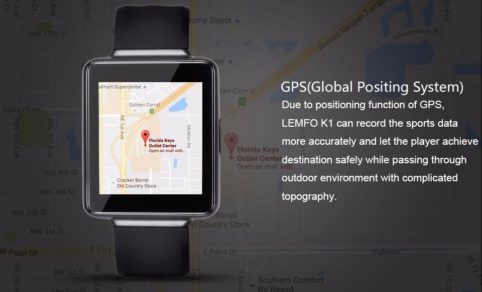 ถูก 2016 k1บลูทูธsmart watch 512 ram + 8กิกะไบต์รอมสนับสนุนWIFI GPSอัตราการเต้นหัวใจโทรศัพท์Android APPดาวน์โหลดเกมนาฬิกาข้อมือ