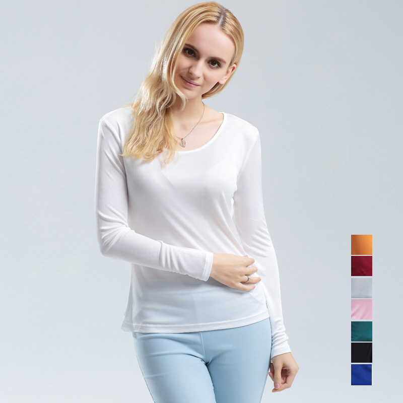 100% pure REAL SILK women base knitted <font><b>long</b></font> <font><b>sleeve</b></font> <font><b>T</b></font> <font><b>shirt</b></font> <font><b>Basic</b></font> round neck camisetas femininas undershirt Large size NEW