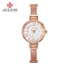 2015 nueva Julius señora Women de reloj de cuarzo horas mejor vestido de moda de la joyería de la pulsera de oficina de negocios clásico regalo de la muchacha 805