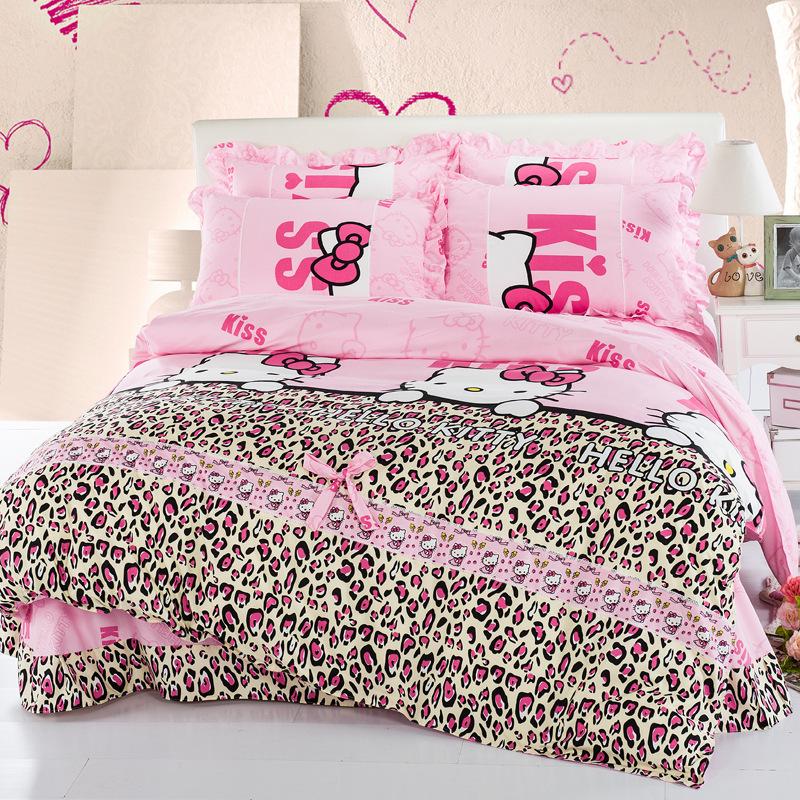 2015 New Korea Princess Style Fashion Bedding Set 4Pcs King/Twin Comforter Bedding Set Hello Kitty Fillet Sheet Duvet Cover BS24(China (Mainland))
