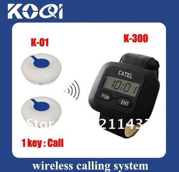 wireless server paging system , 5pcs of call bell and 1 pcs of wrist waiter pagers