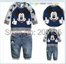 2014 New Autumn Spring Boys clothing set Children kids cartoon suit Sweater+jeans toddler boys clothes set Retail(China (Mainland))