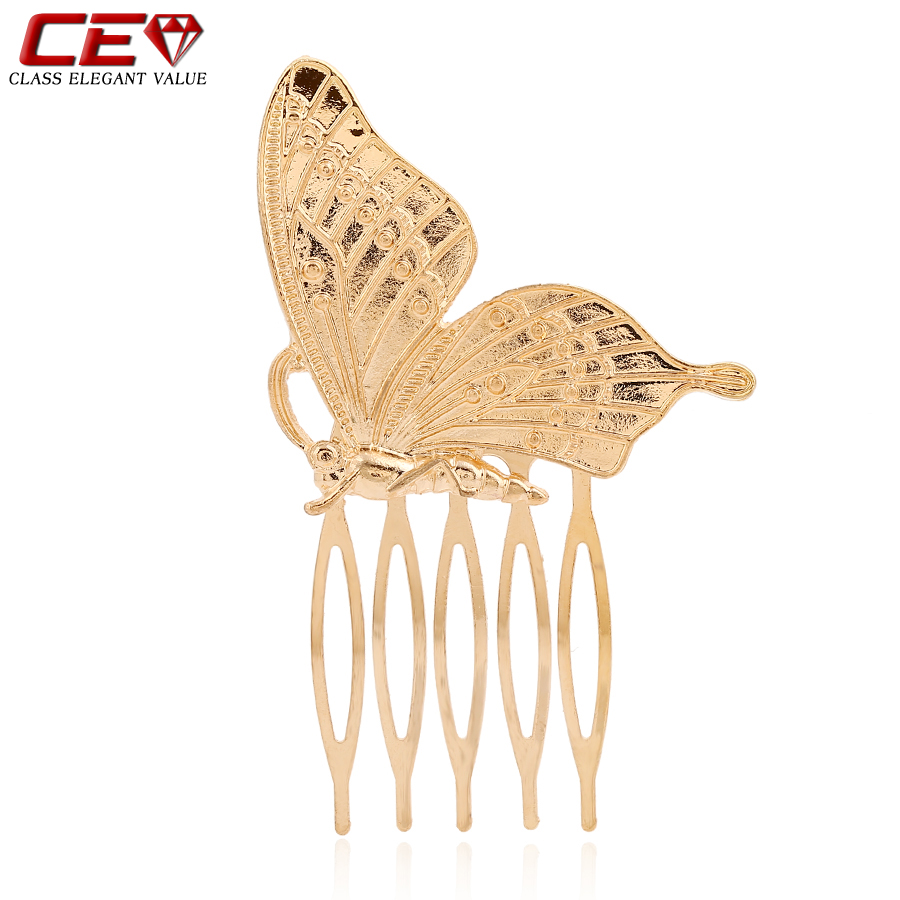 Brand Gold Butterfly Bridal Hair Accessories Clip Pins Tiara Women Wedding Jewelry bijoux de tete Combs Barrettes bijoux cheveux(China (Mainland))