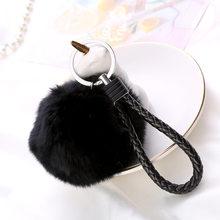 8 cm 13 Cores Adorável Fluffy Bola De Pêlo Chaveiro Pingente Bonito Pompom Artificial Chaveiro de Pele De Coelho Das Mulheres Da Forma Do Carro saco do Anel Chave(China)