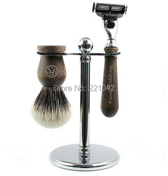 Frank Shaving wooden shaving set,silvertip badger brush+3-blade razor+electroplating metal stand + free razor
