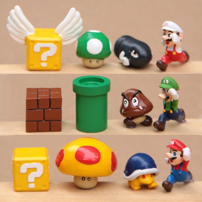 12 PCS / set NINTENDO Super Mario Bros Yoshi Mushroom Figures Nice Gift Free Shipping(China (Mainland))