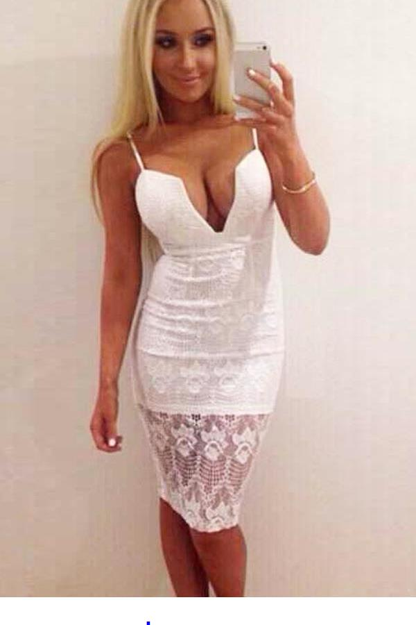 Hot Sexy White Lace Overlay Midi Slip Dress LC60409 nice Clubbing Dress 2015 Vestidos New Arrival Women Slip Lace Dress(China (Mainland))