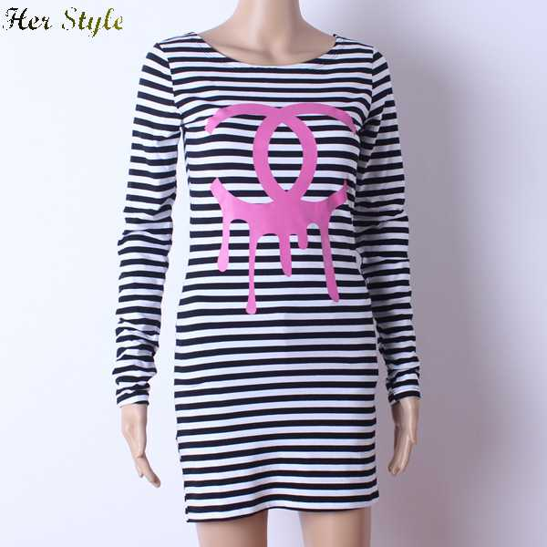 Free shipping womens navy drop hip double ring black and for Black and white striped long sleeve shirt women