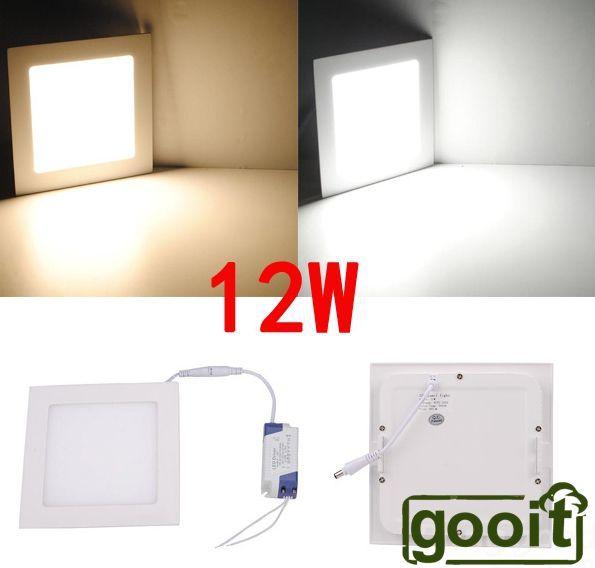 Ultrathin 12W LED 960LM Panel Light Square 60pcs SMD2835 LED Ceiling Wall Light Lamp Recessed Down led bulb 85-265V(China (Mainland))