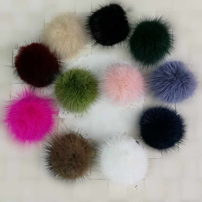 100 pcs 50mm real mink fur pompoms fashion white black red genuine mink fur half ball head band DIY hair acessories B202(China (Mainland))