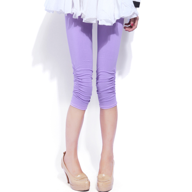 Hot-selling johnsunny women's 100% thin cotton candy color sweat absorbing breathable capris legging trousers female