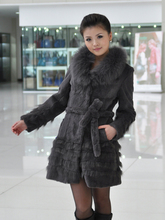 2015 genuine rabbit fur coat women big size 5XL rabbit fur jacket nature fox fur collar  free shipping Wholesale retail F93(China (Mainland))
