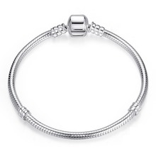 New High Quality Silver Plated Snake Chain Bracelet Diy Silver Bead Fit Pandora Bracelets Women Fine Jewelry(China (Mainland))