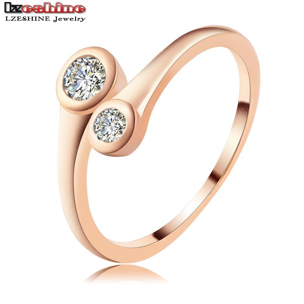 LZESHINE Simple Promise Ring Elegant Engagement Rings Rose Gold Silver Plate