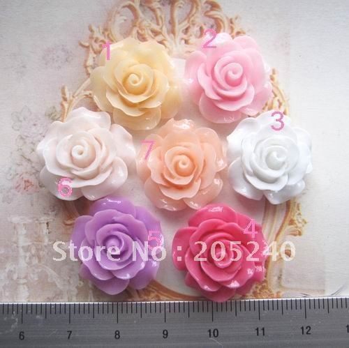 free shipping! flat back resin flower 35pcs(7colors mixed, 22mm)
