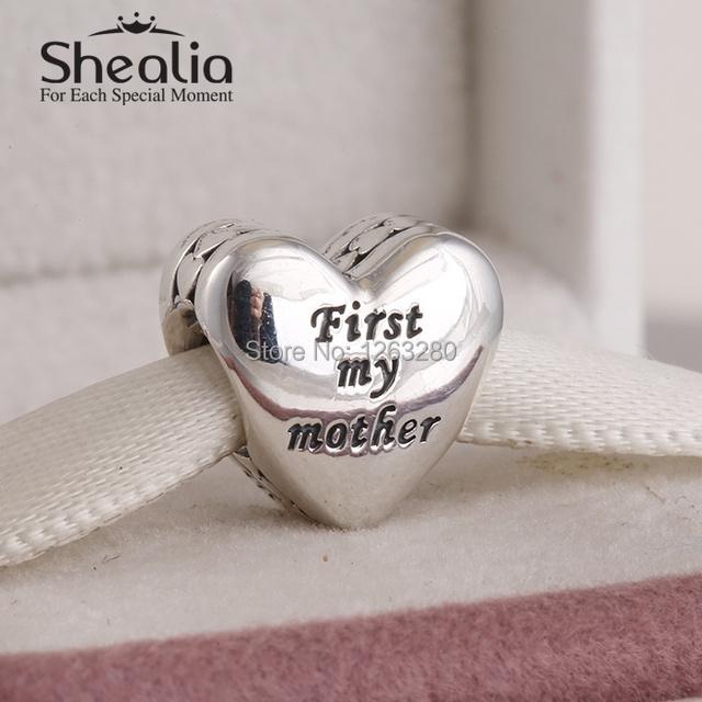 Первый моя мать в форме сердца бусины день матери подарок 925 чистое серебро SHEALIA ювелирные изделия подходит своими руками браслет BD229