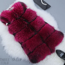 New Fashion Winter Lady Natural Raccoon Fur Vest Women's Real Genuine Fur Leather Jacket Overcoat Girl's Fox Fur Vest Coat(China (Mainland))