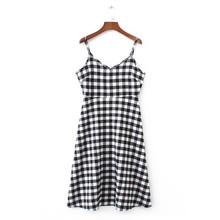 Buy 2017 Summer New European Style Women Fashion Sexy V-Neck Sleeveless Spaghetti Strap Black White Plaid Cotton Linen Casual Dress for $14.98 in AliExpress store