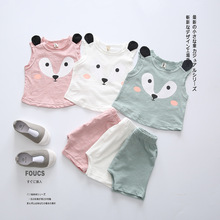 2016 Summer New Korean Baby Boys And Girls Stamp Two Piece Sleeveless Fox Suits Cute Children Clothing Set