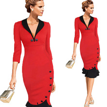 Ladies Hot Sexy Three Quarter Sleeve Formal Dresses Pleated Rosebud OL Work Office Pencil Dress Multi Color Purple Red and Green(China (Mainland))