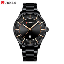 CURREN Top Brand Man Watches Clock Man Fashion Quartz Watches Men Business Steel Wristwatch with Date Classic Black Male(China)