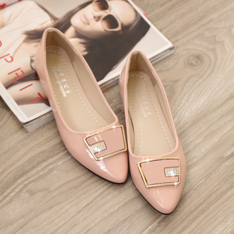 2016 spring and summer sweet casual shoes to help low single shoe toe head flat shoes rhinestone square buckle driving shoes