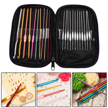 High Quality 22Pcs Set Multi-colour Aluminum Crochet Hooks Needles Knit Weave Craft Yarn Free Shipping