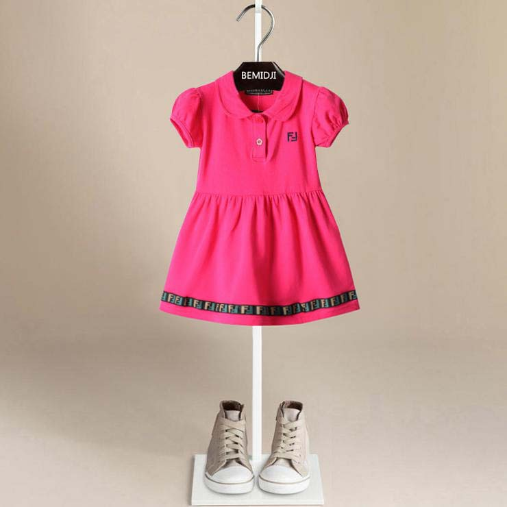 2015 New Summer Autumn Dress Girls Dress Cotton Design red,white,dark blue 2t-6t cotton dress 5 colors children casual clothes(China (Mainland))