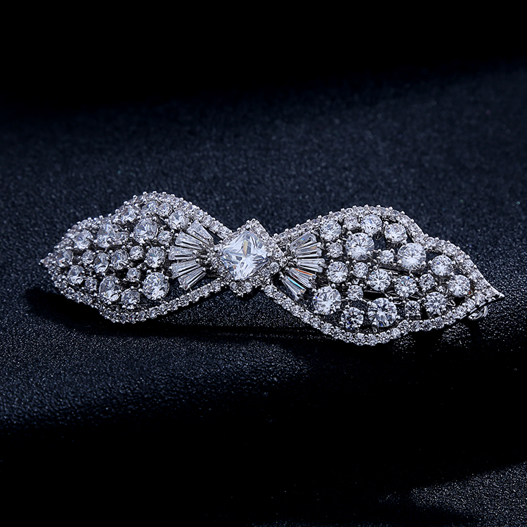 Quality luxury flower hair barrettes women hair accessory zircon bow side-knotted clip hairpin for lady women wedding jewelry(China (Mainland))