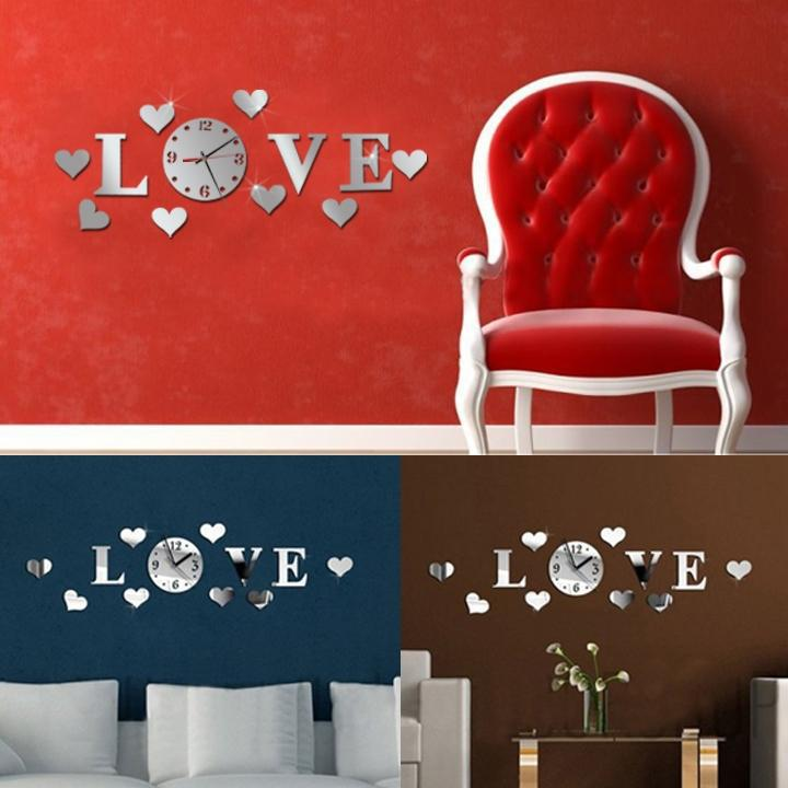 Modern Romantic DIY Wall Clock Mirror Effect LOVE Design For Bedroom(China (Mainland))