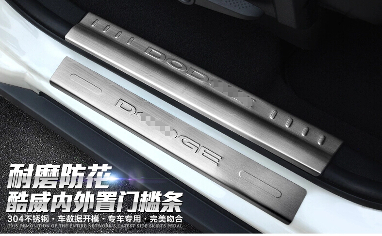 For Dodge Journey 2013 2014 Inside &amp; Outside Door Sill Scuff Plate 8pcs / set<br><br>Aliexpress