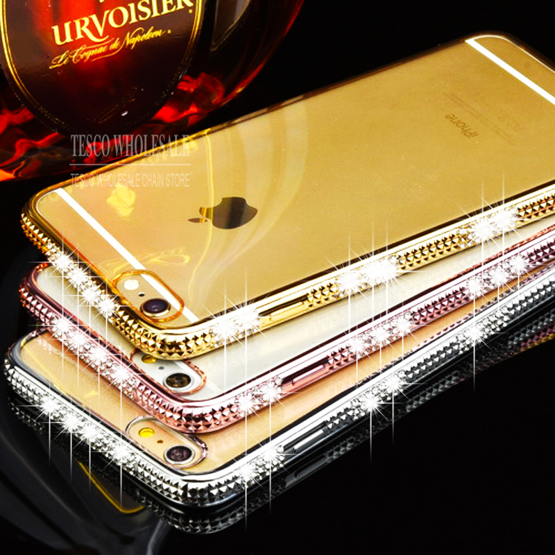 Luxury Electroplating Soft Bling Rhinestone Diamond Mobile Phone Case For Apple iphone 5 5S SE 6 6s Plus Back Cover Bags(China (Mainland))