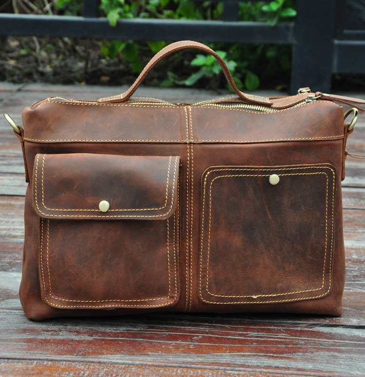Mens Man bag,genuine leather briefcase,document bag,messenger bag,laptop case,ipad case,cowhide,vintage style,new,brown,2119(China (Mainland))