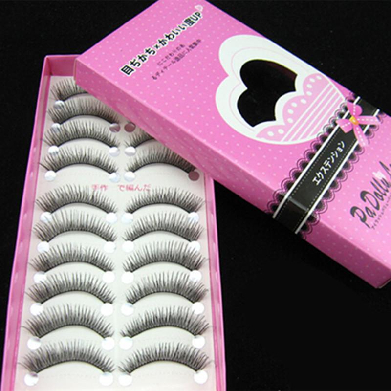 10 paires de faux cils en plastique coton tige croisillon main made fiber artificielle beauté vente chaude maquillage faux cils(China (Mainland))