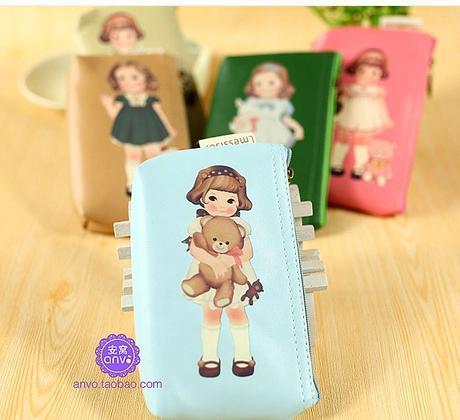 New 2014 Kawaii Gifts doll storage key wallet coin purse coin case free shipping(China (Mainland))