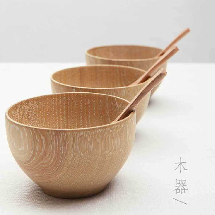 3pcs/set Natural Wooden Wood Serving Bowls Japan Outdoor Tableware Rice Thermos Bowls Soup Bowl Salad Dishes Containers For Food(China (Mainland))