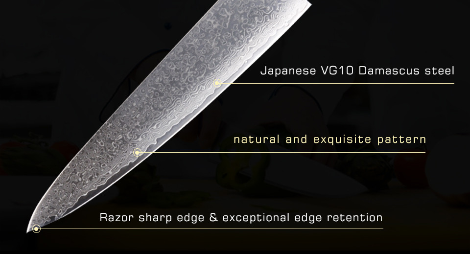 Buy 9.5 Inch Japanese VG10 damascus knives new Kitchen Knife very sharp meat cutting damascus Cleaver kitchen free shipping cheap