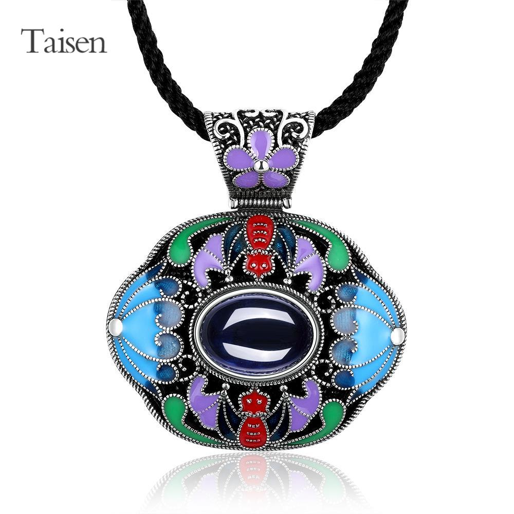 ethnic jewelry for lady 2016 Latest Style Necklace for women vintage women necklace corundum created gemstone pendant necklace(China (Mainland))