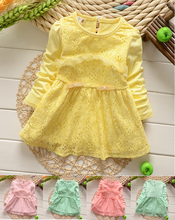 Baby Girls Dress Long sleeve  Flower Lace pearls Princess Tutu Dresses Toddler Kids Clothes party birthday vestidos(China (Mainland))