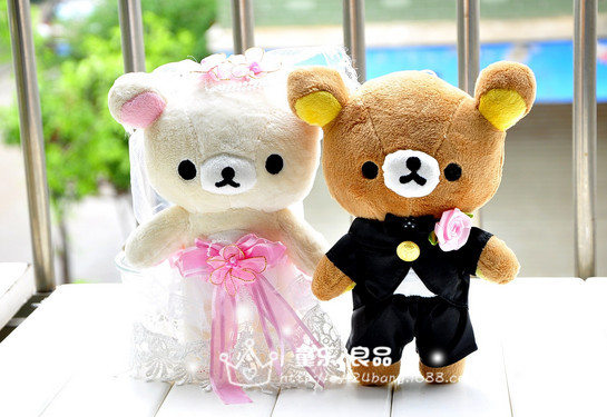 free shipping lovely relax bear plush toy ,about 22cm wedding Rilakkuma bears a pair toys birthday gift, proposal gift d9468(China (Mainland))