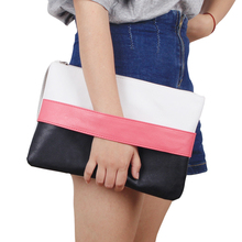New Arrival Women Handbag Solid Patchwork Lady Day Clutches Popular Stitching Soft Girl Zipper Packet Fashion Brief Shopping Bag
