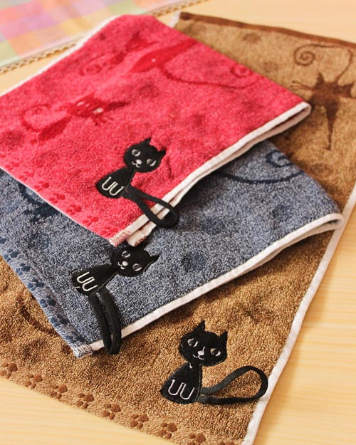 Cute cat cotton absorbent towel, face towel embroidery cartoon, children soft washcloth(China (Mainland))