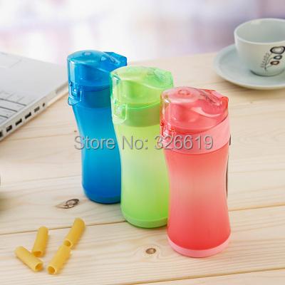 Непосредственное питьё лаконичный портативная стекло на открытом воздухе пластик спорт фляжка для воды с крышкой чаша герметичные 300 мл фляжка для воды