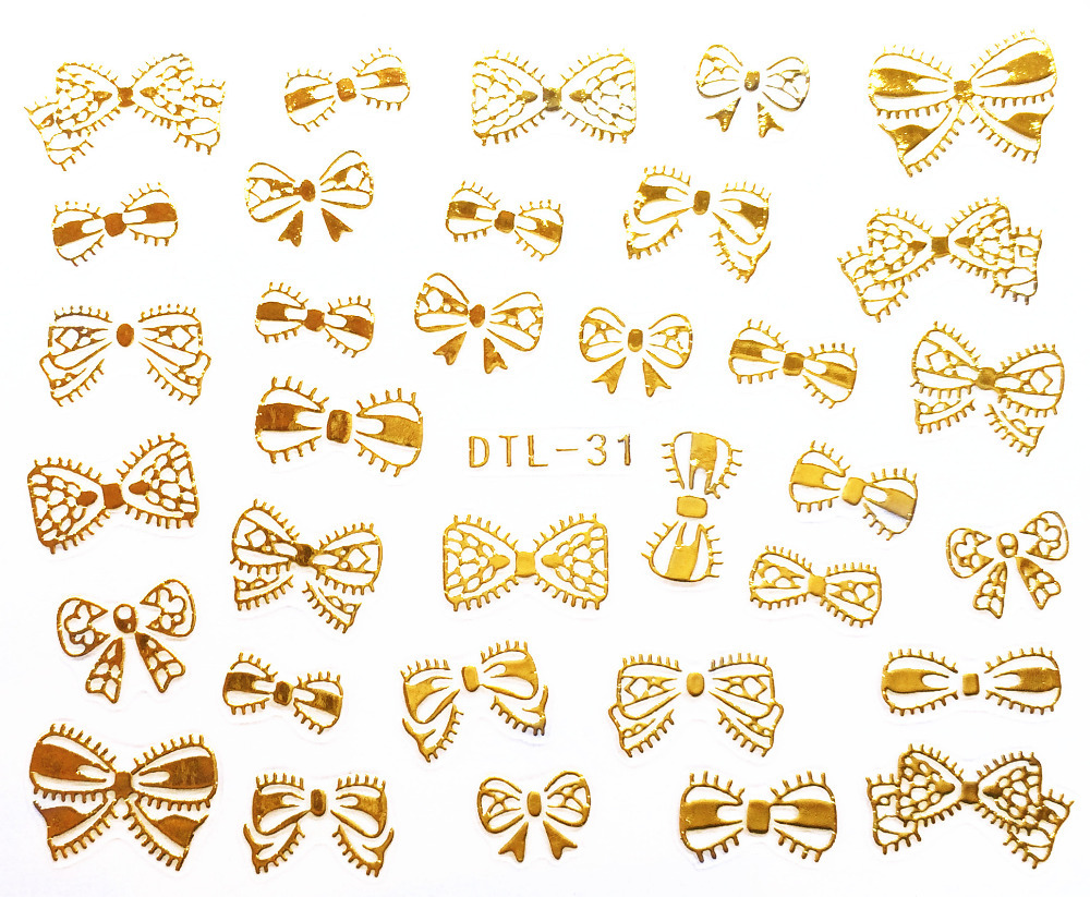 1X Sheet DIY Golden Lovely Shape 3D Design Water Transfer Nail Art Stickers/Decals#DTL031Gold(China (Mainland))