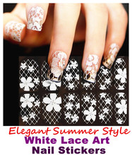 Elegant 16 Types White Lace Art Nail Sticker Flower Tip Nail Europe style Sheets cute DIY strip Nails Decal Manicure nail tools